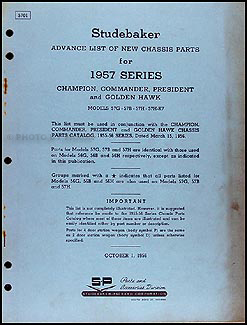 1957 Studebaker Car Preliminary Chassis Parts Book