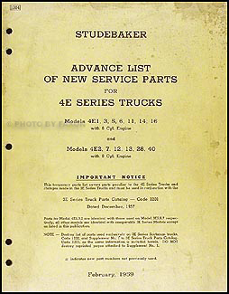 1959 Studebaker 4E Truck Preliminary Parts Book Original