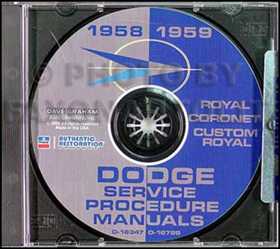 1958-1959 Dodge Car CD-ROM Shop Manual