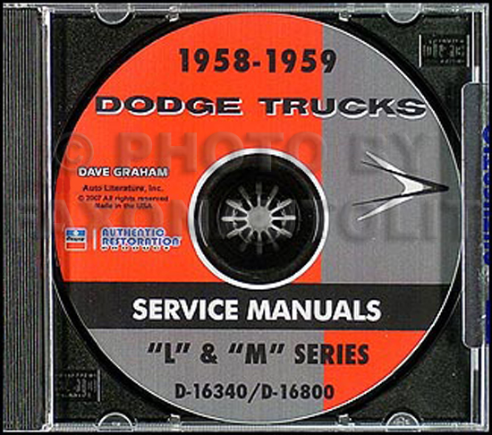 1958-1959 Dodge Truck CD-ROM Shop Manual for all trucks & pickup