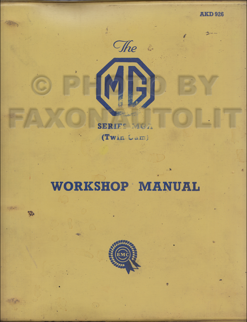 1958-1960 MGA Twin Cam Repair Manual Original