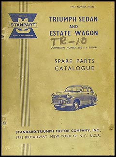 1958-1959 Triumph TR 10 Parts Book Original