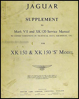 1958-1961 Jaguar XK 150 Repair Manual Reprint Supplement XK150