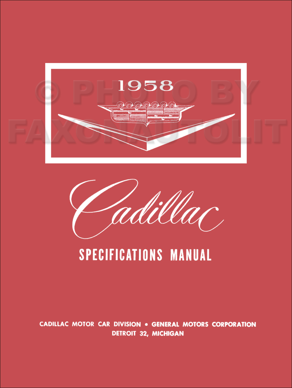 1958 Cadillac Optional Specifications Manual Reprint