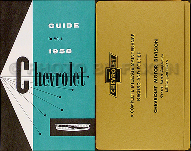 1958 Chevrolet Car Reprint Owner's Manual Package