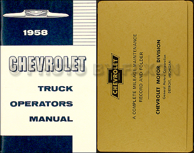 1958 Chevrolet Pickup & Truck Reprint Owner's Manual Package