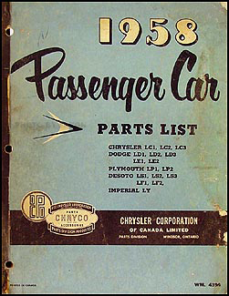 1958 Chryco Car Parts Book Original Canadian