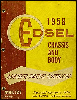 1958 Edsel Master Parts Book Original March 1959 Edition