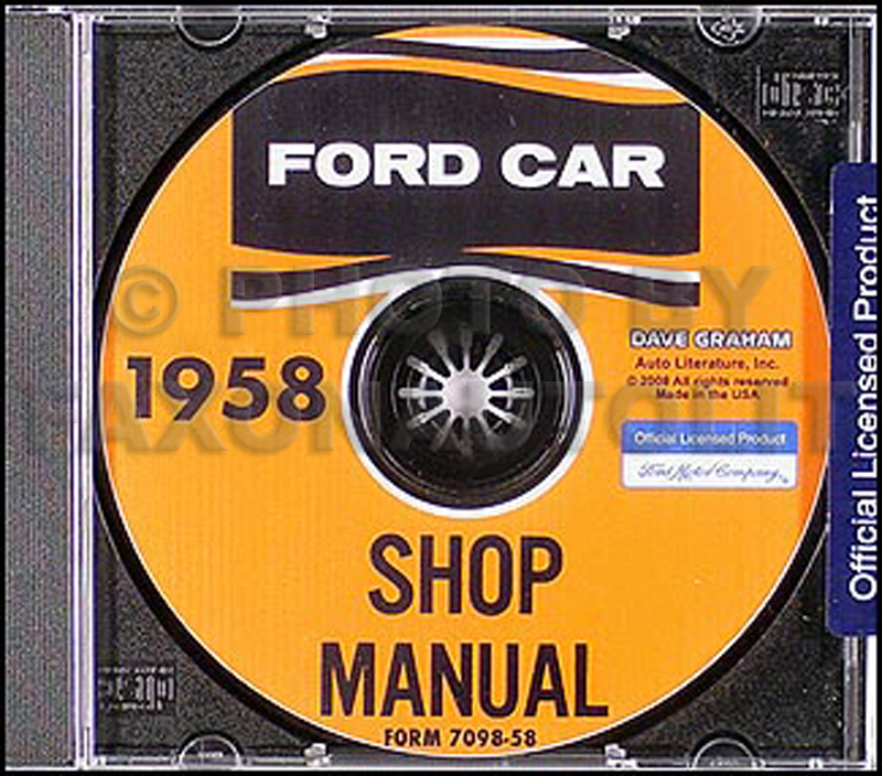 1958 Ford Car CD-ROM Shop Manual
