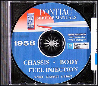 1958 Pontiac CD Shop Manual with Body, A/C, & Fuel Injection Manuals