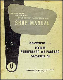 1958 Packard & Studebaker Shop Manual Original Supplement