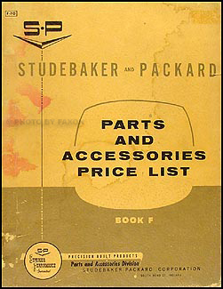 1953-1958 Studebaker-Packard Parts & Accessories Price List Original