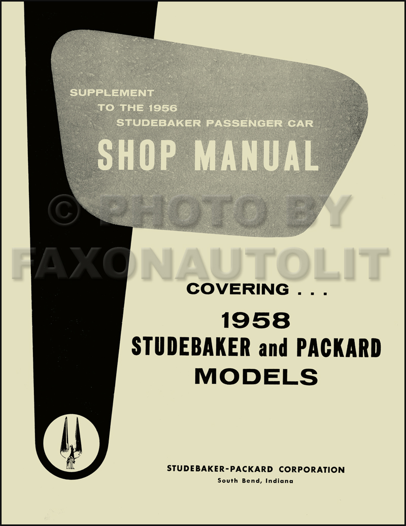 1958 Packard Studebaker Shop Manual Supplement Reprint