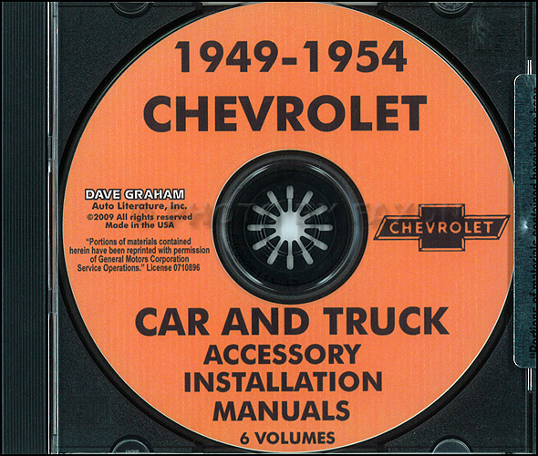 1949-1954 Chevrolet Car & Truck Accessory Installation Manuals on CD-ROM
