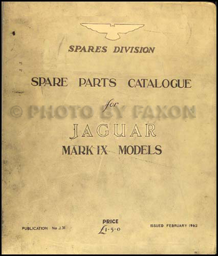 1959-1961 Jaguar Mark IX Parts Book Original