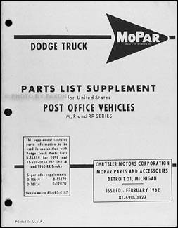 1959-1962 Dodge Post Office Vehicles Parts Book Original Supplement