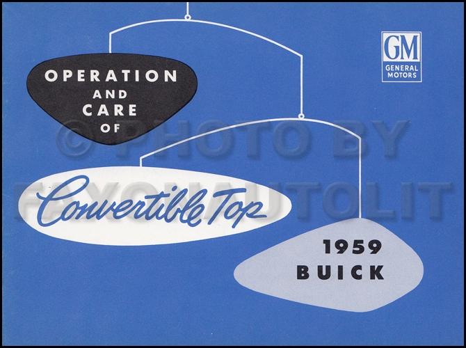 1959 Buick Convertible Top Owner's Manual Original