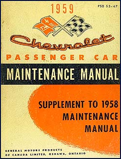 1959 Chevrolet Repair Shop Manual CANADIAN  Supp. Biscayne Bel Air Impala El Camino Nomad