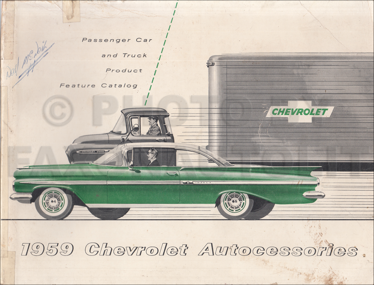 1959 Chevrolet Custom Feature Accessories Dealer Album Original