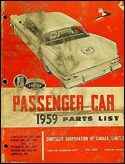 1959 Chryco Car Parts Book Original Canadian