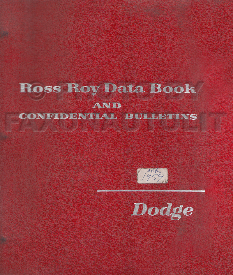 1959 Dodge Car Data Book Original
