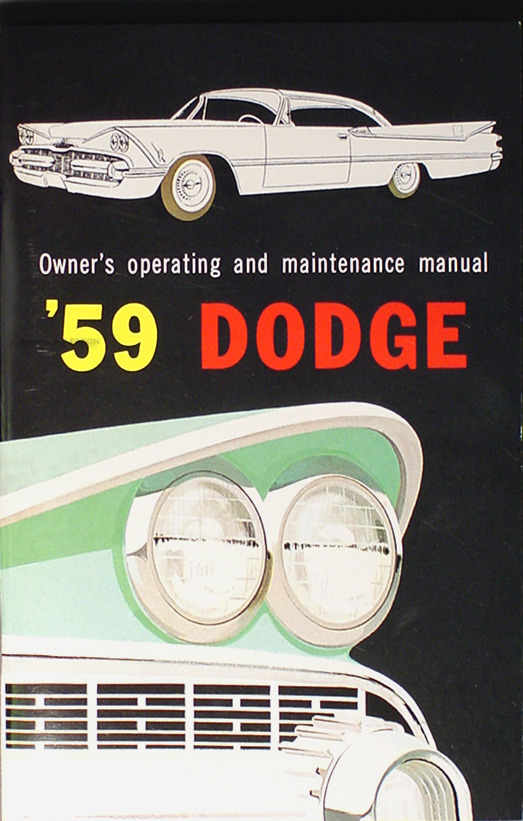 1959 Dodge Car Reprint Owner's Manual