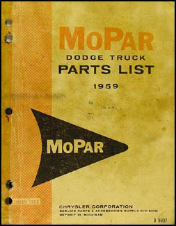 1959 Dodge Pickup and Truck Parts Book Original