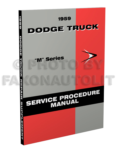 1959 Dodge Truck Shop Manual Reprint Supplement