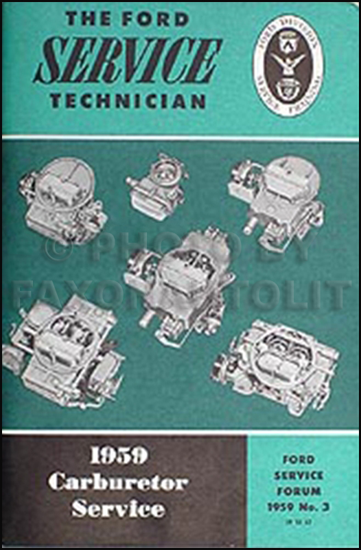 1959 Ford Carburetor Adjustment Service Training Manual Original