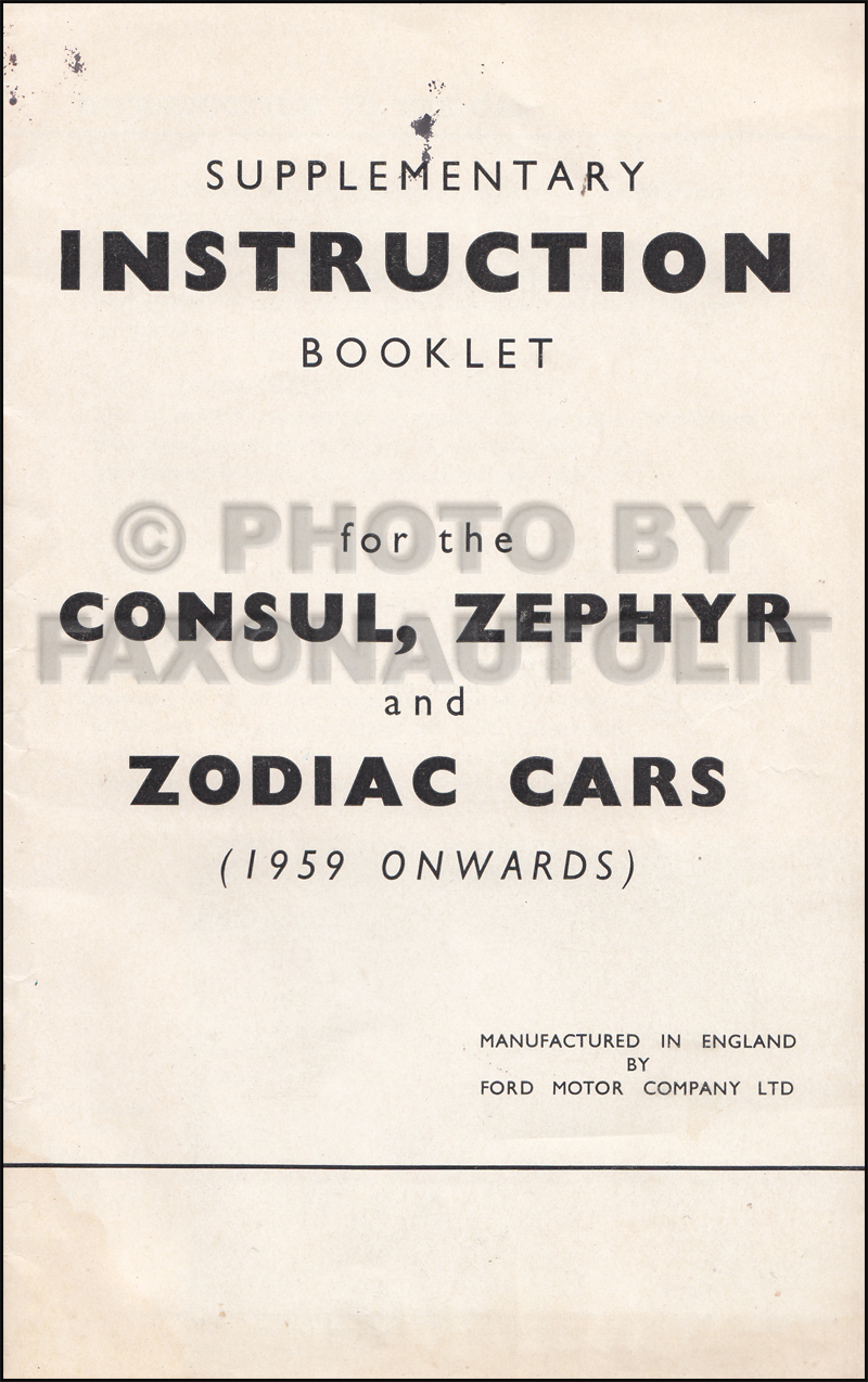 1959 Ford Owner's Manual Supplement Original Consul Zephyr Zodiac