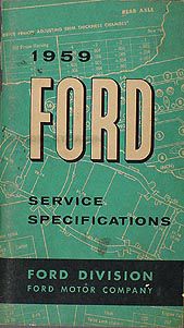 1959 Ford Service Specifications Manual Original
