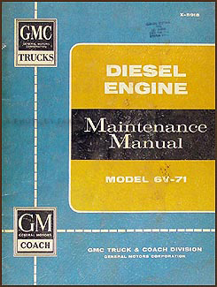 1959-1960 GMC 6V-71 Diesel Engine Repair Manual Original