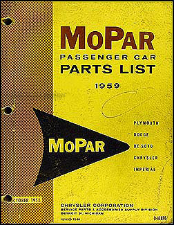 1959 MoPar Car Parts Book Original