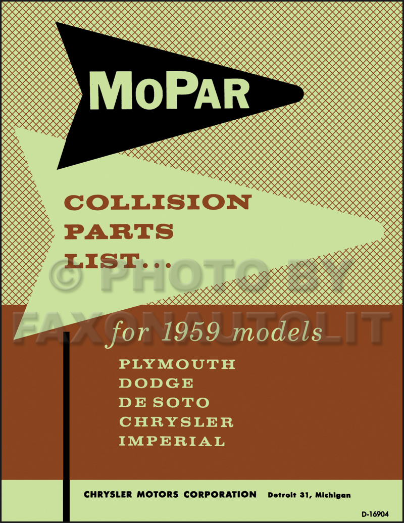 1959 MoPar Body Collision Parts Book Reprint