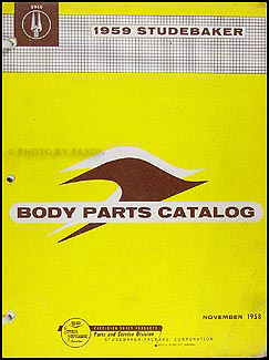 1959 Studebaker Body Parts Book Original