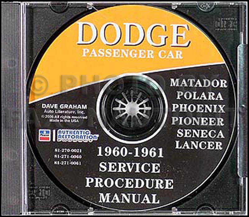1960-1961 Dodge CD Shop Manual for all models