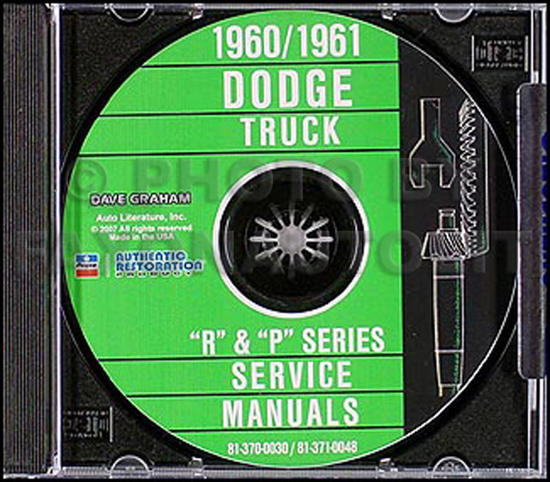 1960-1961 Dodge Truck CD-ROM Shop Manual for all trucks & pickup 60-61