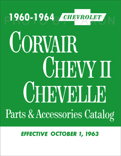 1960-1964 Chevrolet Corvair, Chevy II, Chevelle and El Camino Parts Book Reprint