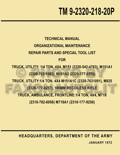 1960-1978 Military Jeep M151 Illustrated  Parts Book Reprint