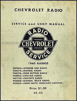 1960 Chevy Radio Manual Original Car, Corvette & Truck