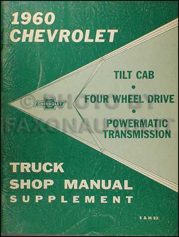 1960 Chevrolet 4WD Pickup & Truck Shop Manual Supplement Original