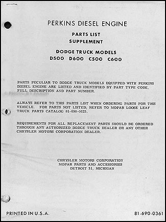 1960 Dodge Perkins Diesel Engine Parts List Original Supplement
