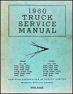 1960 Dodge Truck & Fargo CANADIAN Repair Manual Original