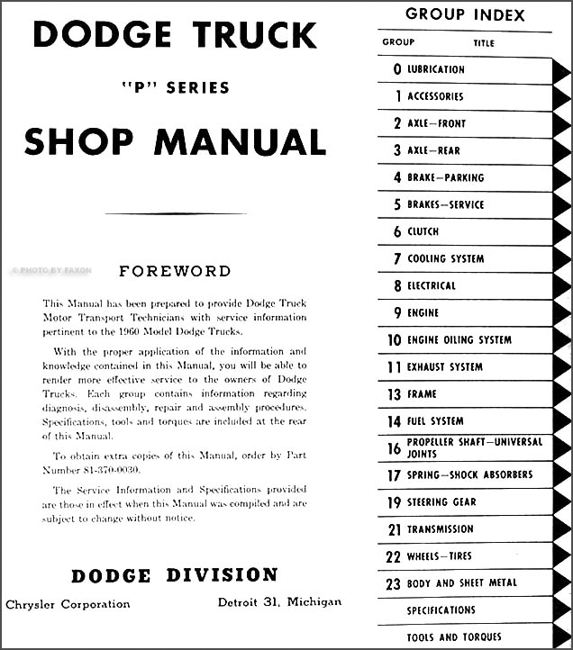 1960 dodge pickup truck & power wagon shop manual original  table of  contents