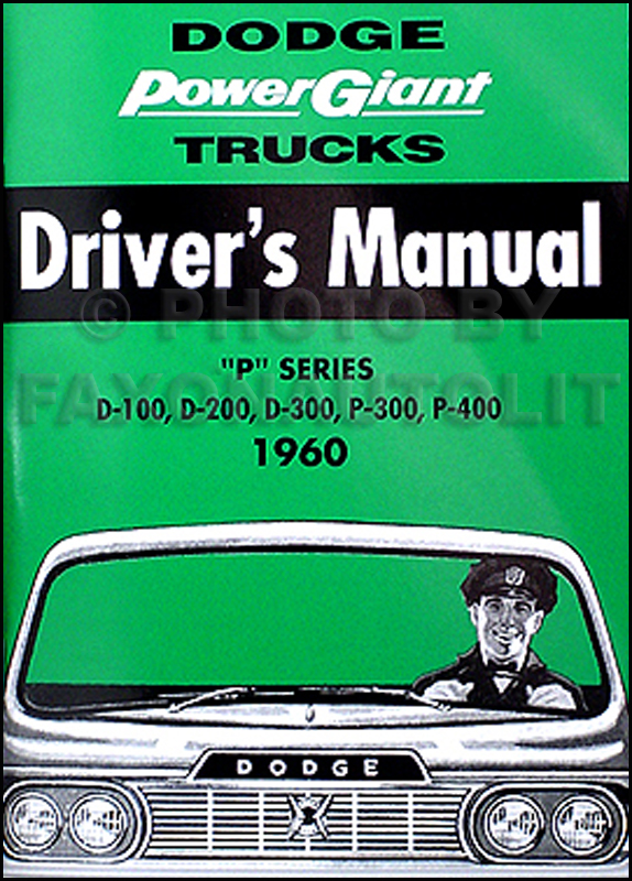 1960 Dodge Pickup Truck Owner's Manual Reprint