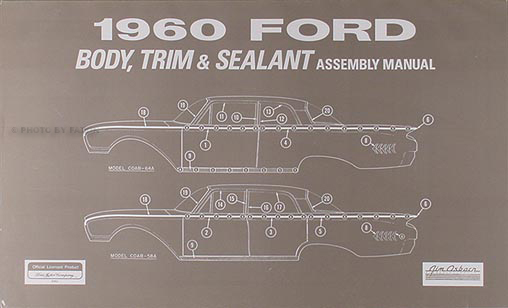 1960 Ford Car Body & Interior Assembly Manual Reprint
