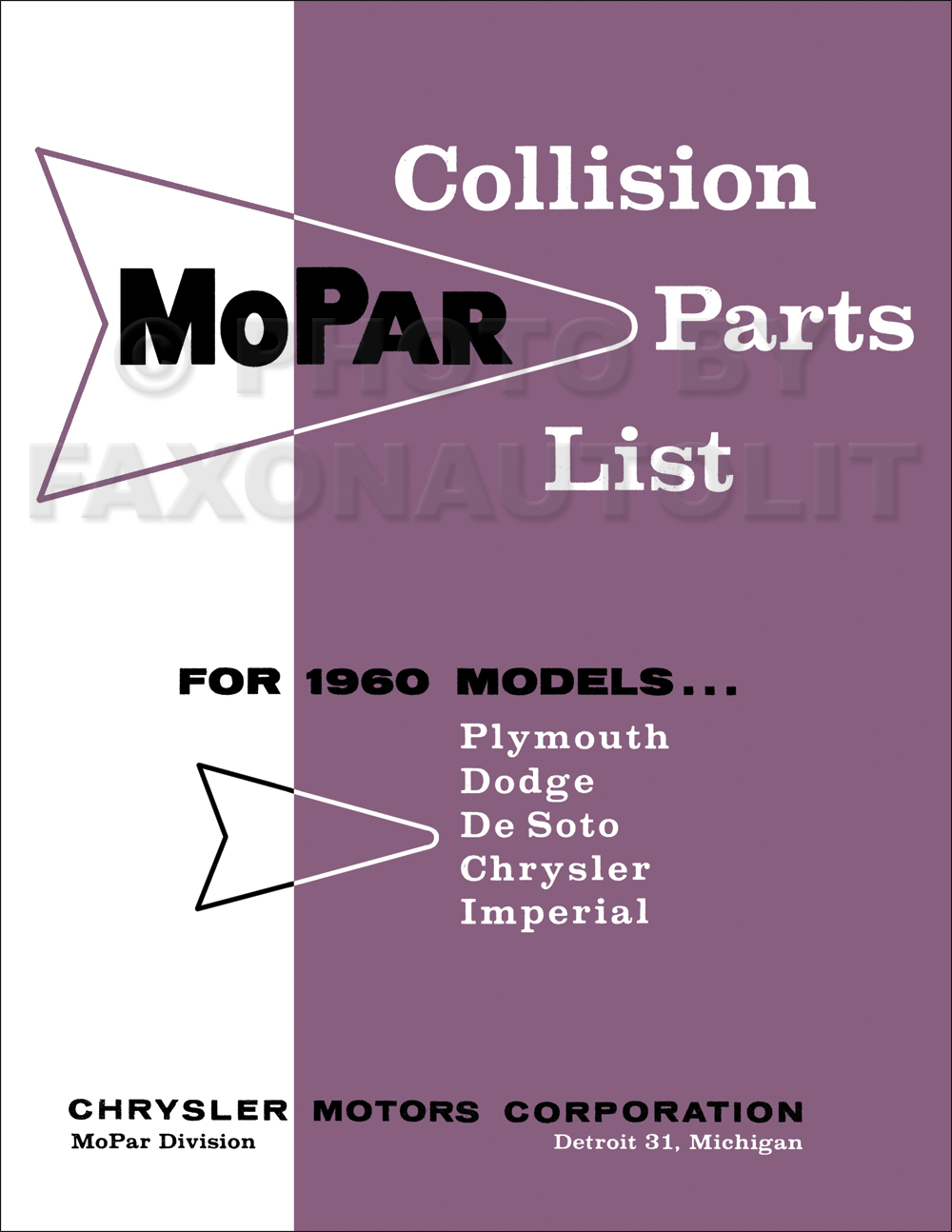1960 MoPar Collision Parts Book Reprint