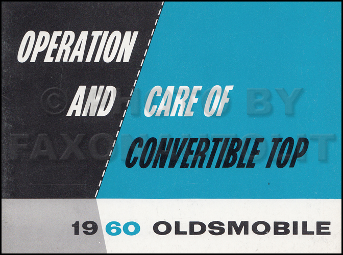 1960 Oldsmobile Convertible Top Owner's Manual Original