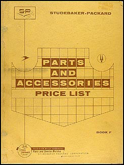 1956-1960 Studebaker Packard Parts & Accessories Price List Original