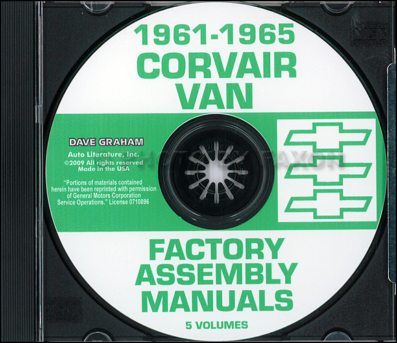 1961-1965 Chevy Corvan, Corvair 95 and Greenbrier Assembly Manual CD-ROM